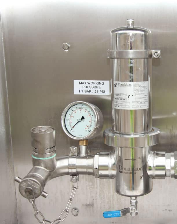 2 bar working pressure with hygienic airline and venting system