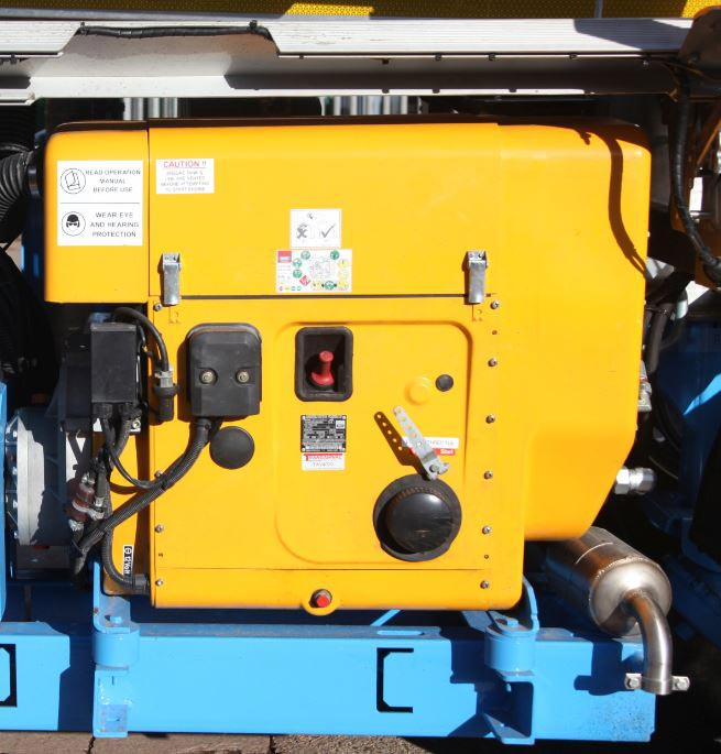 On-board Donkey Engine with direct driven 500 c.f.m air cooled compressor